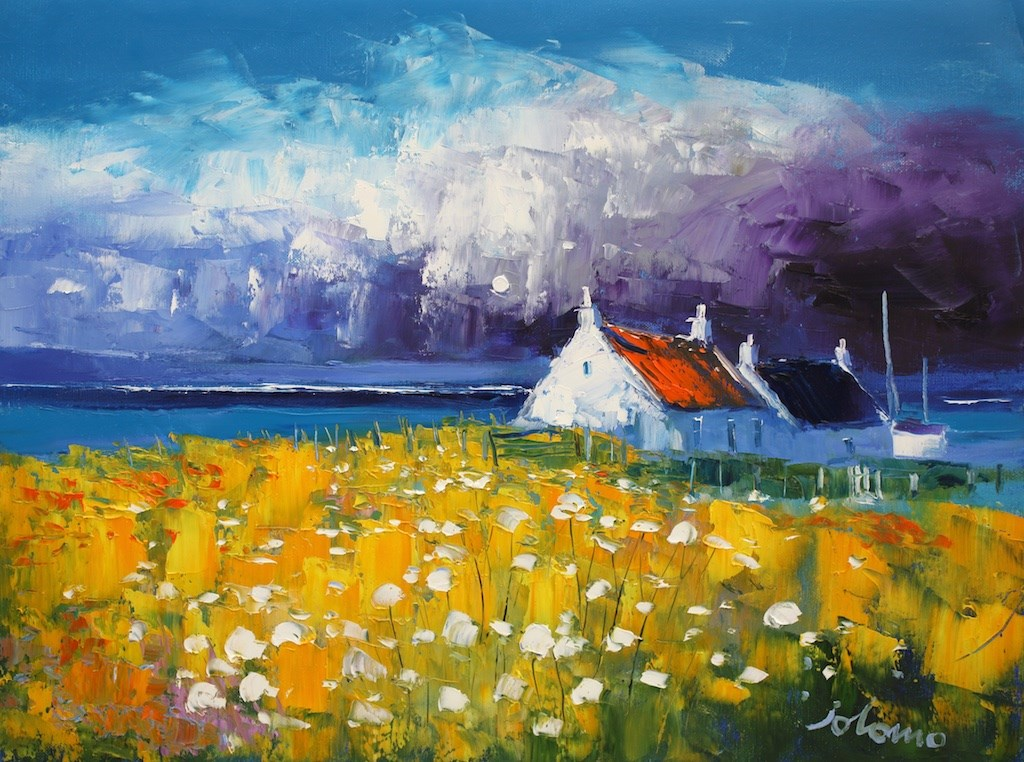 Storm passing over Westport Kintyre by John Lowrie Morrison -  sized 24x18 inches. Available from Whitewall Galleries